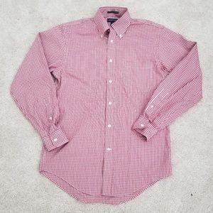 EUC Men's Button-down Shirt - Red and White